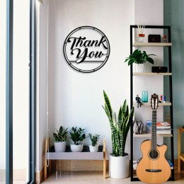 Çerçeve İçinde Thank You Yazısı Tasarım Metal Tablosu 50x50cm