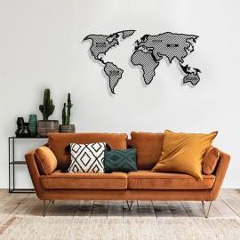 Dünya Haritası Çizgili Kıtalar Yazılı Duvar Oda Ev Aksesuarı Metal Tablo