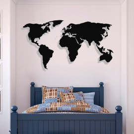 Dünya Haritası Duvar Oda Ev Aksesuarı Metal Tablo