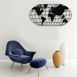 Dünya Haritası Elips Kareli Duvar Oda Ev Aksesuarı Metal Tablo