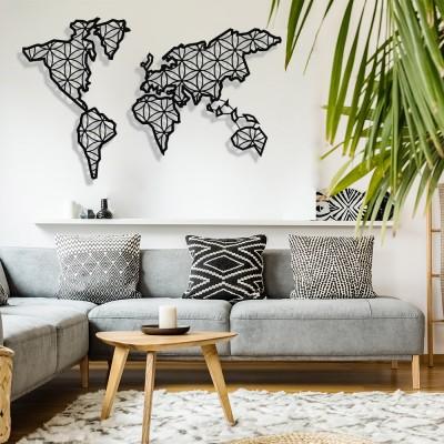 Dünya Haritası Yaşam Çiçeği Duvar Oda Ev Aksesuarı Metal Tablo