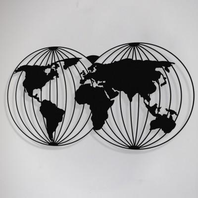 Dünya Haritası Yuvarlak Çizgili Duvar Oda Ev Aksesuarı Metal Tablo