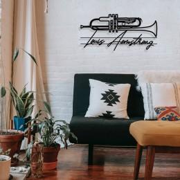 Jazz Müzik Saksafon ve Louis Armstrong Tasarım Metal Tablosu 65x31cm