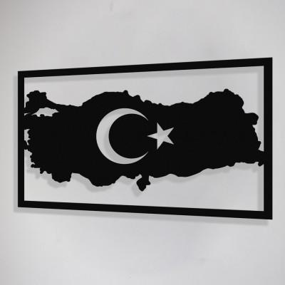 Türk Bayrağı Duvar Oda Ev Aksesuarı Metal Tablo