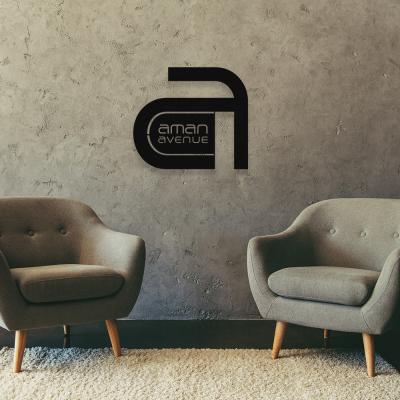 Aman Avenue  A Harfi Logo Metal Tasarımı 60x54 cm