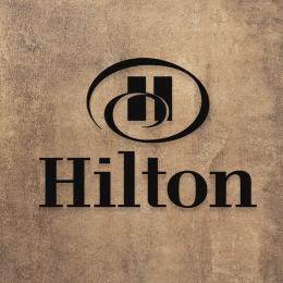 Firmaya Özel Hilton Otel Metal Saç Tabela Dekarosyon Metal Saç Tabela 60x30 cm