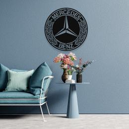 Mercedes Logosu Dekoratif Metal Tablo Tasarımı 50x50 cm