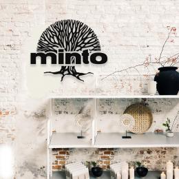 Firmaya Özel Minto ve Yaşam Ağacı Firması Tabelası Dekarosyon Metal Saç Tabela 60x50 cm