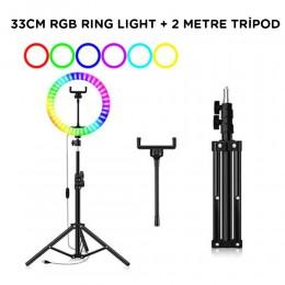 """Youtuber Kuaför Makyaj Çekimleri için 14"""" RGB Ring Light + 2Metre Stand"""