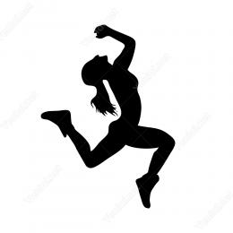 Spor Yapan Kadın Sticker  Yapıştırma