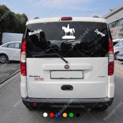 At Üstünde Atatürk ve Kişiye Özel 2 Adet Yazı Araç Stickerları