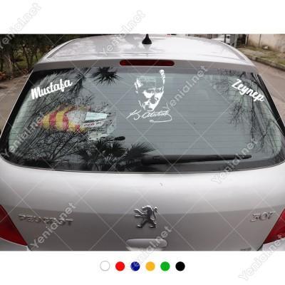 Atatürk Potresi İmzası ve Kişiye Özel 2 Adet Yazı Araç Stickerları