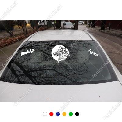 Ay Yansımalı Kurt ve Kişiye Özel 2 Adet İsim Stickerları