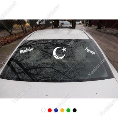 Ay-yıldız Türk Yazısı Kişiye Özel 2 Adet İsim Stickerları