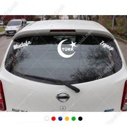 Ay-Yıldız Türk Yazısı ve Kişiye Özel 2 Adet İsim Stickerları