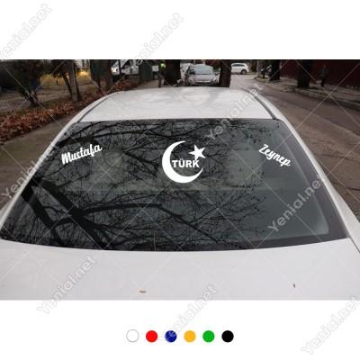 Ay Yıldız Türk Yazısı ve Kişiye Özel 2 Adet İsim Stickerları