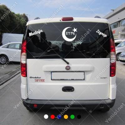 Ayyıldız Türk Yazısı Kişiye Özel 2 Adet İsim Stickerları