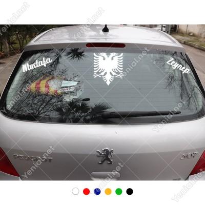 Çift Başlı Kartal ve Kişiye Özel 2 Adet Yazı Araç Stickerları