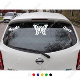 Detaylı Kelebek Çizimi ve Kişiye Özel 2 Adet İsim Stickerları