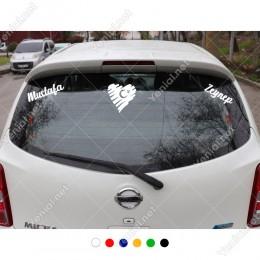 Kalp Türk Bayrağı ve Kişiye Özel 2 Adet İsim Stickerları