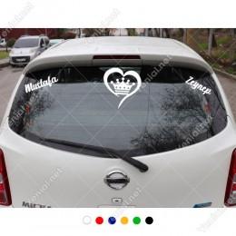 Kalp ve Kral Tacı ve Kişiye Özel 2 Adet İsim Stickerları