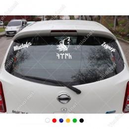 Kurt Göktürkçe Türk ve Kişiye Özel 2 Adet İsim Stickerları