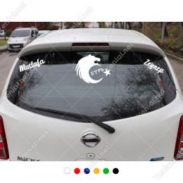 Kurt Türk Yazısı ve Kişiye Özel 2 Adet İsim Stickerları