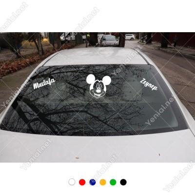 Miki Mouse ve Kişiye Özel 2 Adet Yazı Araç Stickerları