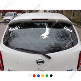 Sert Kanatlı Kartal ve Kişiye Özel 2 Adet Yazı Araç Stickerları