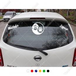 Siyah Beyaz Denge ve Kişiye Özel 2 Adet İsim Stickerları