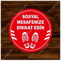 Ayakkabı İzi ve Sosyal Mesafeyi Koruyunuz Yazısı Sticker