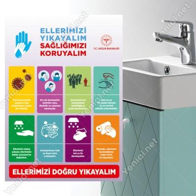 Ellerimizi Yıkayalım Sağlığımızı Koruyalım Koranovirüs Afiş Sticker