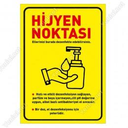 Hijyen Noktası Sarı Zeminli Afiş Sticker Yapıştırma