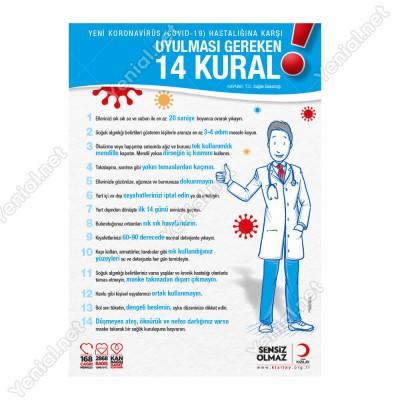 Koranavirüs Riskine Karşı 14 Kural Mavi Zemin Yazısı Kızılay Afişi Stickerı