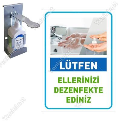 Lütfen Ellerinizi Dezenfekte Ediniz Mavi Renk Sticker Etiket Afiş Yapıştırma