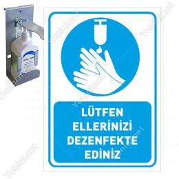 Lütfen Ellerinizi Dezenfekte Ediniz Simgeli Mavi Renk Sticker Etiket Afiş Yapıştırma