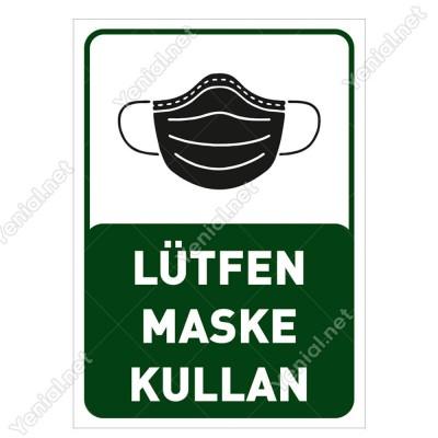 Lütfen Maske Kullan Yazısı Pankartı Tabelası Stickerı
