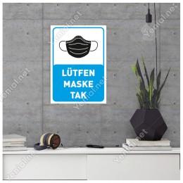 Lütfen Maske Tak Yazısı Pankartı Tabelası Stickerı