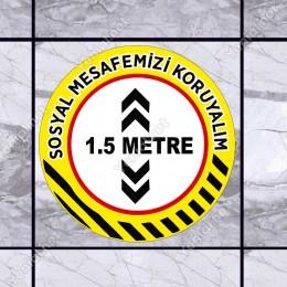 Sosyal Mesafe Stickerları Set Sosyal Mesafe Maskesiz Girilmez 14 Kural