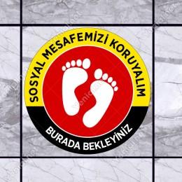 Lütfen Sağlığınız İçin Sosyal Mesafeyi Koruyalım Yazısı Sarı Ve Kırmızı Renk Sticker