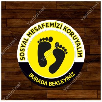 Lütfen Sağlığınız İçin Sosyal Mesafeyi Koruyalım Yazısı Sarı Ve Siyah Renk Sticker