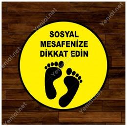 Lütfen Sağlığınız İçin Sosyal Mesafeyi Koruyalım Zemin Sarı Ve Siyah Renk Sticker