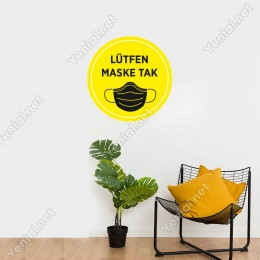 Maske Tak Sarı Renk Sticker Afiş Duvar İçin