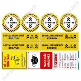 Sosyal Mesafe Stickerları Set Sosyal Mesafe Maskesiz Girilmez 14 Kural 5mm Dekoteli SET