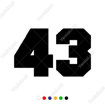 43 Numaralı Sayı Bold Rakam Etiket Sticker Yapıştırma