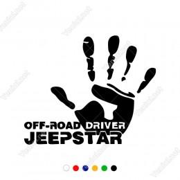 4x4 Ofroad Driver Jeep Star El Sticker Yapıştırma