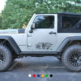 4x4 Ofroad Jeep Vahşi Ağzı Bağlı Kuru Kafa Sticker Yapıştırma