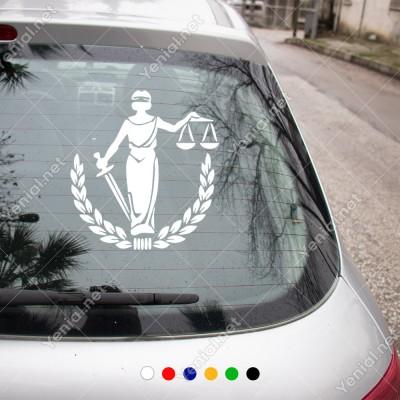 Adelet Simgesi Kılıç Terazi Araba Duvar Sticker