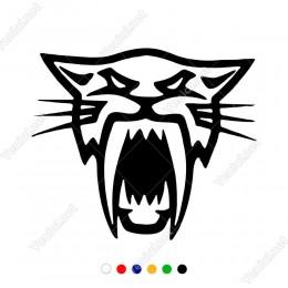 Ağzı Açık Dişleri Gözüken Kaplan Sticker Yapıştırma