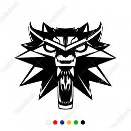 Ağzı Açık Kızgın Kurt Ön Görünüm Sticker Yapıştırma